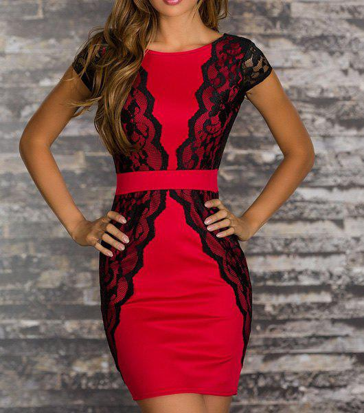 Charming Jewel Neck Lace Splicing Backless Short Sleeve Dress For Women - RED L