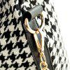 Stylish Houndstooth and Chains Design Shoulder Bag For Women - WHITE/BLACK