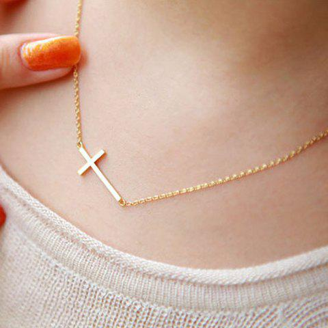 Stylish Simple Design Cross Pendant Necklace For Women - GOLDEN