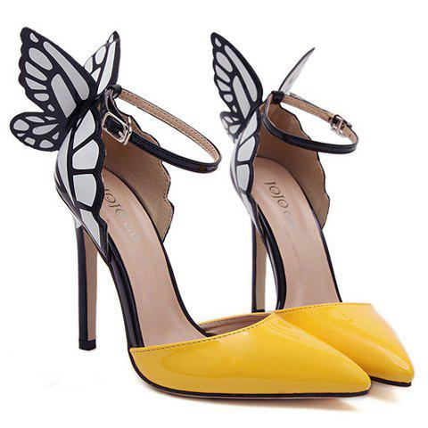 Fashionable Butterfly Wings and Color Block Design Pumps For Women - YELLOW 40