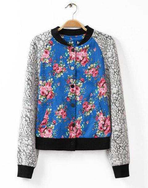 Floral Print Splicing Trendy Style Stand Collar Long Sleeve Women's Jacket - COLORMIX S