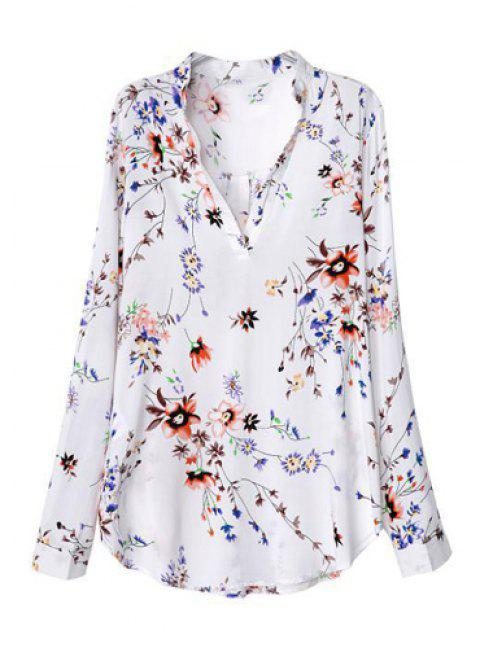 Floral Print Fashionable V-Neck Long Sleeve Women's Blouse - WHITE M