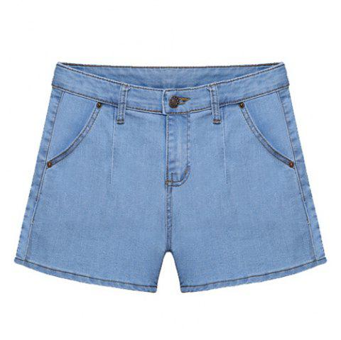 Solid Color Denim Straight Leg All-Match Stylish Women's Shorts - LIGHT BLUE XL