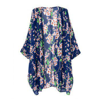 Loose-Fitting Floral Print Fashionable Collarless Long Sleeve Women's Kimono - COLORMIX COLORMIX