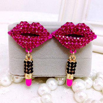 Lipstick Pendant Diamante Lip Drop Earrings