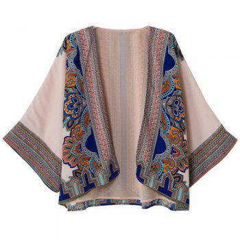 Ethnic Print Collarless Bat-Wing Sleeve Retro Style Women's Blouse