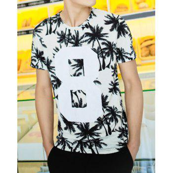 Casual Style Round Neck Coconut Tree and Number Personality Print Slimming Short Sleeves Men's Cotton Blend T-Shirt