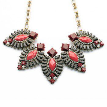 Faux Gem Embellished Geometric Pendant Necklace - AS THE PICTURE
