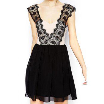 Plunging Neck Sleeveless Lace Spliced Backless Dress