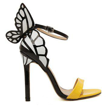 Trendy Butterfly Wings and Color Block Design Sandals For Women - YELLOW 40