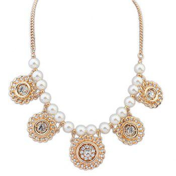 Hot Sale Pearl Rhinestoned Round Pendant Necklace