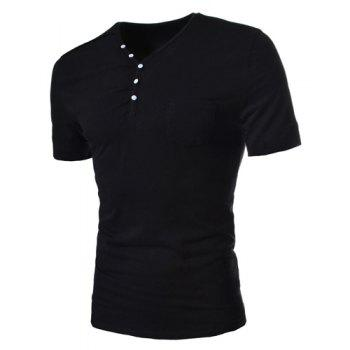 Simple Style Solid Color Slimming V-Neck Button Personality Embellished Short Sleeves Men's Cotton Blend T-Shirt - BLACK L