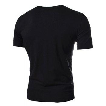 Simple Style Solid Color Slimming V-Neck Button Personality Embellished Short Sleeves Men's Cotton Blend T-Shirt - L L