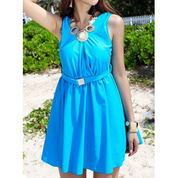 Stylish V-Neck Solid Color One-Piece Swimsuit For Women