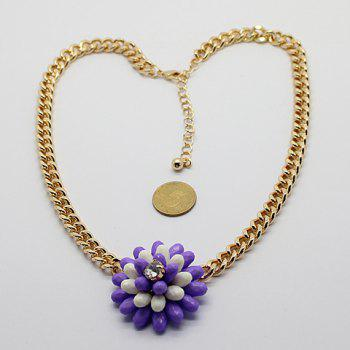 Fashion Simple Design Manual Beads Flower Pendant Necklace For Women - COLOR ASSORTED