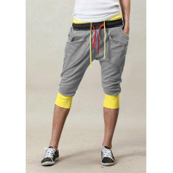 Trendy Double Color Block Waist Lace-Up Slimming Personality Pocket Embellished Color Splicing Narrow Feet Men's Cotton Blend Joker Cropped Pants