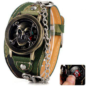 Luxury Flip Skull Head Cover Quartz Wrist Watch with Analog Leather Watchband + Chain for Men - CAMOUFLAGE COLOR CAMOUFLAGE COLOR