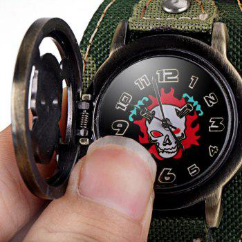 Luxury Flip Skull Head Cover Quartz Wrist Watch with Analog Leather Watchband + Chain for Men -  CAMOUFLAGE COLOR