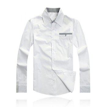 Fashion Style Turn-down Collar Personality Pocket Embellished Long Sleeves Men's Polyester Shirt - WHITE 2XL