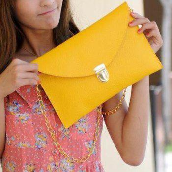 Stylish Envolope and Push-Lock Design Clutch For Women - YELLOW YELLOW