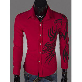 Casual Style Turn-down Collar Solid Color Abstract Print Long Sleeves Men's Polyester Shirt
