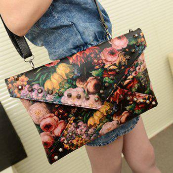 Stylish Rivets and Oil Painting Design Clutch For Women -  BLACK