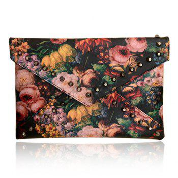 Stylish Rivets and Oil Painting Design Clutch For Women - BLACK BLACK