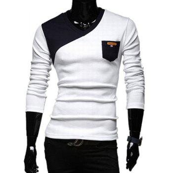 Stylish V-Neck Classic Color Block Splicing Slimming Long Sleeves Men's Cotton Blend T-Shirt - WHITE L