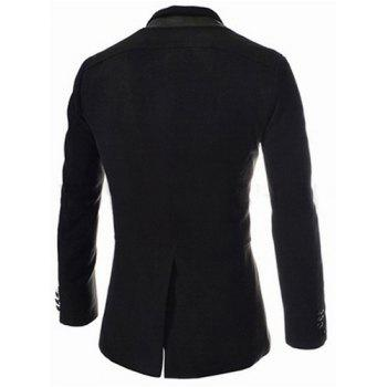 Trendy Slimming Stand Collar Long Sleeves Single-Breasted Design Solid Color Men's Long Woolen Overcoat - L L