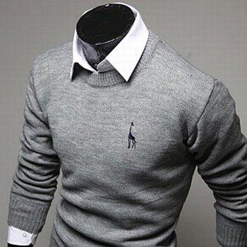 Casual Style Slimming Round Neck Long Sleeves Deerlet Embroidery Design Men's Cotton Blend Sweater - LIGHT GRAY 2XL