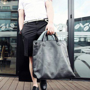Street Style Black and PU Leather Design Messenger Bag For Men - BLACK
