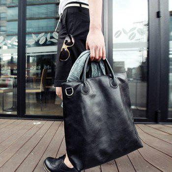Street Style Black and PU Leather Design Messenger Bag For Men