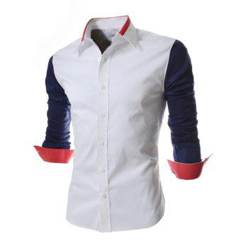 Fashion Style Turn-down Collar Color Splicing Slimming Long Sleeves Men's Polyester Shirt - BLUE M
