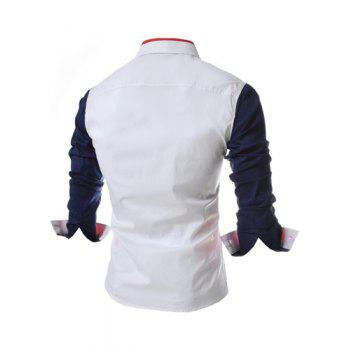 Fashion Style Turn-down Collar Color Splicing Slimming Long Sleeves Men's Polyester Shirt - BLUE BLUE