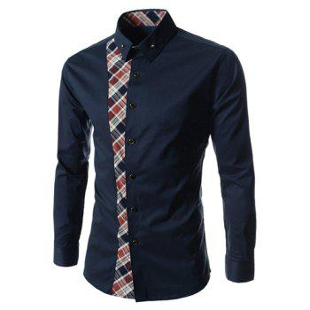 Casual Style Turn-down Collar Colorful Checked Print Personality Embellished Long Sleeves Men's Shirt - CADETBLUE L