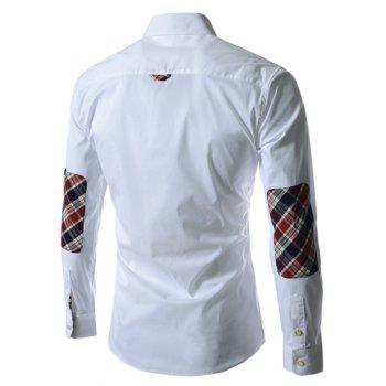 Casual Style Turn-down Collar Colorful Checked Print Personality Embellished Long Sleeves Men's Shirt - WHITE WHITE