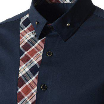 Casual Style Turn-down Collar Colorful Checked Print Personality Embellished Long Sleeves Men's Shirt - 2XL 2XL