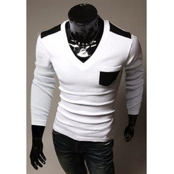 Fashion Style V-Neck Color Splicing Pocket Embellished Slimming Long Sleeves Men's Cotton Blend T-Shirt - M M