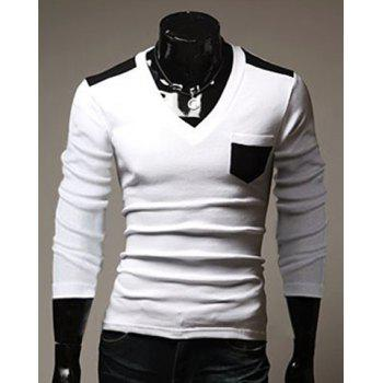 Fashion Style V-Neck Color Splicing Pocket Embellished Slimming Long Sleeves Men's Cotton Blend T-Shirt - WHITE M