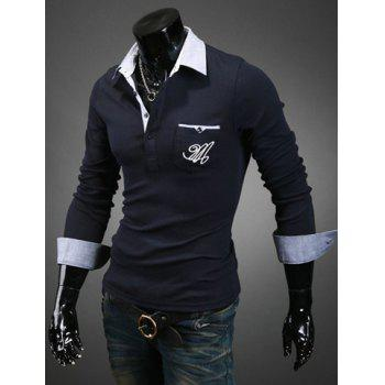 Casual Style Color Block Turn-down Collar Slimming Long Sleeves Men's Polo T-Shirt - CADETBLUE CADETBLUE