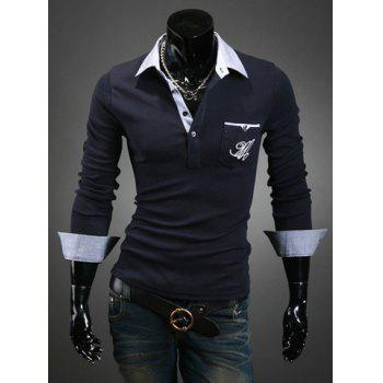 Casual Style Color Block Turn-down Collar Slimming Long Sleeves Men's Polo T-Shirt