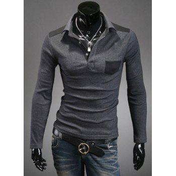 Slimming Trendy Turn-down Collar Color Splicing Pocket Embellished Long Sleeves Men's Cotton Blend Polo T-Shirt - XL XL