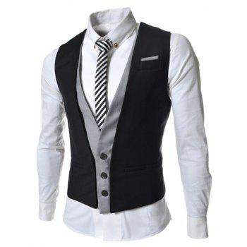 Ceinture à encolure en V décontracté Embellished Sleeveless Men's Cotton Blend False Two Pieces Waistcoat