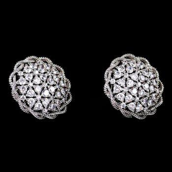 Pair of Round Hem Rhinestone Earrings - WHITE GOLDEN