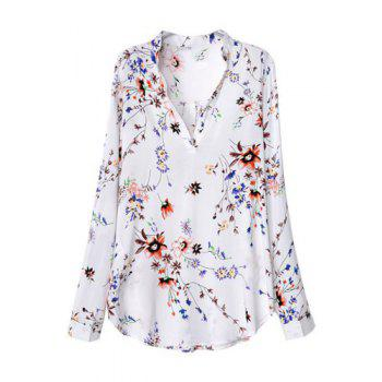 Floral Print Fashionable V-Neck Long Sleeve Women's Blouse