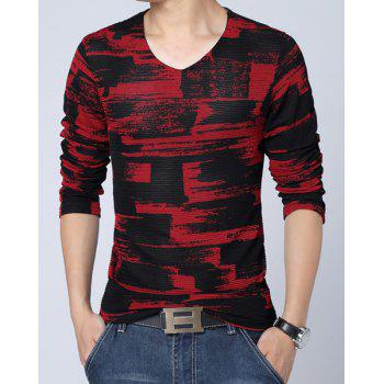 Fashion Style V-Neck Abstract Checked Print Mesh Legging Design Slimming Long Sleeves Men's Plus Size T-Shirt