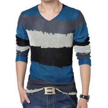 Fashion Style V-Neck Slimming Color Splicing Mesh Legging Design Long Sleeves Men's Plus Size T-Shirt