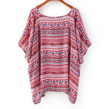 Full Print Loose-Fitting Trendy Style Collarless Short Sleeve Women's Blouse - RED RED