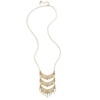 Multilayered Hollow Out Flower Pendant Necklace - GOLDEN