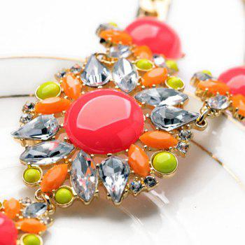 Fashion Red Waterdrop Shaped Faux Gem Decorated Flower Pendant Necklace For Women - RED